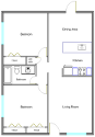 2 Bedroom 1 Bath Floorplan