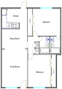 2 Bedroom 2 Bath Floorplan